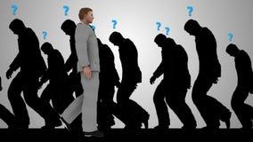 3D Successful Businessman silhouette walking toward success