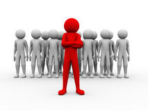 3d successful red man team leader illustration. 3d rendering of unique person leading his team. 3d white people man character and concept of leadership, teamwork Stock Images