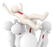3d successful team leader tossed in air by his team. 3d rendered successful team leader tossed in air by his team - Team success concept Royalty Free Stock Images