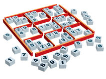 Sudoku. 3d sudoku game board and boxes with numbers in a variety of positions Stock Images