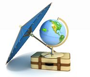3d suitcase, airplane, globe and umbrella Stock Photo