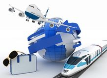 3d suitcase, airplane, train and globe. Travel and vacation concept. Trendy signs - summer and journey Royalty Free Stock Photography