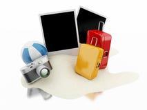 3d Suitcase, beach ball, camera and photos. Travel concept. 3d renderer image. Suitcase, beach ball, camera and photos. Travel concept.  white background Stock Photos