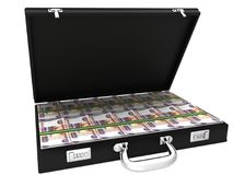 3D Suitcase full of rubles. On a white background Stock Image
