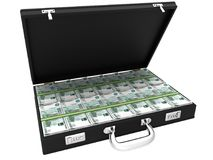 3D Suitcase full of rubles. On a white background Stock Photo