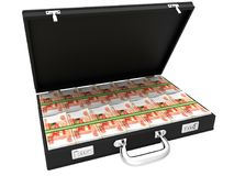 3D Suitcase full of rubles. On a white background Royalty Free Stock Images