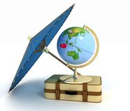 3d suitcase, globe and umbrella Royalty Free Stock Photo