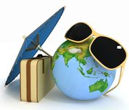 3d suitcase, globe and umbrella Royalty Free Stock Image