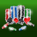 3D suits. Poker chips on green background Stock Photo