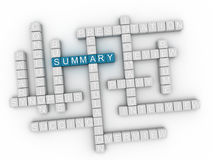 3d Summary Concept word cloud Royalty Free Stock Image