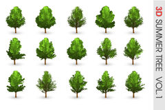 3D Summer set Tree collection object isolated Stock Image