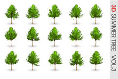 3D Summer set Tree collection object isolated Stock Images