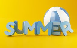 3d Summer word with Beach ball. 3d illustration. Summer word with Beach ball on yellow background. Summer vacation concept Royalty Free Stock Photo