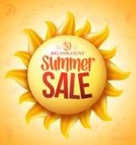 3D Sun amarillo realista con descuento de la venta del verano Foto de archivo libre de regalías