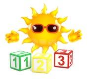 3d Sun aprende contar Foto de archivo