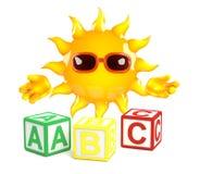 3d Sun aprende el alfabeto Fotografía de archivo libre de regalías