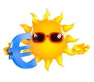 3d Sun avec un euro symbole monétaire illustration stock