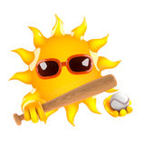 3d Sun baseball. 3d render of the sun holding a baseball bat and ball Stock Images