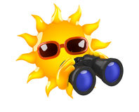 3d Sun binoculars Stock Photo
