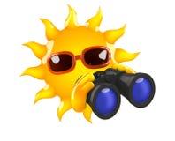 3d Sun binoculars. 3d render of Sun with binoculars Stock Photo