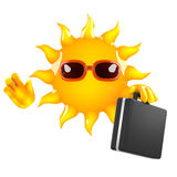 3d Sun business. 3d render of the sun carrying a briefcase Stock Photos