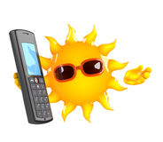 3d Sun character chats on a cellphone Royalty Free Stock Images