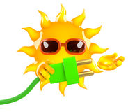 3d Sun character connects the green energy. 3d render of a sun character holding a green power cord Stock Photo