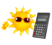 3d Sun character has a calculator Royalty Free Stock Image