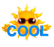 3d Sun character holding the word. 3d render of a sun character holding the word Cool Royalty Free Stock Images