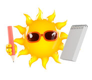 3d Sun character with a notepad and pencil Stock Image