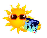 3d Sun character pays with a credit card Stock Image