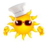 3d Sun chef. 3d render of the sun wearing a chefs hat Stock Photo