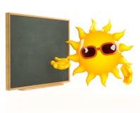 3d Sun enseigne au tableau noir illustration de vecteur