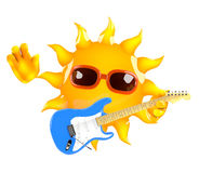 3d Sun guitarist. 3d render of the sun playing electric guitar Stock Photos