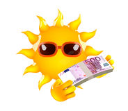 3d Sun has Euro bank notes Stock Photos