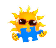 3d Sun has the jigsaw puzzle piece Royalty Free Stock Photography