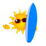 3d Sun holds a surfboard Royalty Free Stock Photos