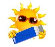 3d Sun holds a USB drive Royalty Free Stock Photos