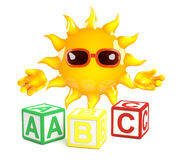 3d Sun learns the alphabet Royalty Free Stock Photography