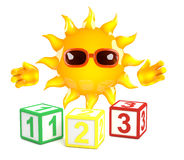 3d Sun learns to count Stock Photo