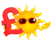 3d Sun lleva a cabo un símbolo de moneda de libra esterlina de Reino Unido Libre Illustration