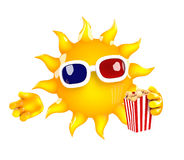 3d Sun at the movies. 3d render of the sun watching a movie Stock Photo