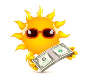 3d Sun payday. 3d render of the sun holding US Dollars Royalty Free Stock Image