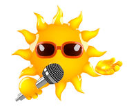 3d Sun sings. 3d render of the sun singing into a mic Stock Images