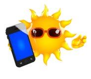3d Sun smartphone Stock Photography