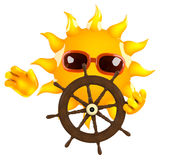 3d Sun steers the ship Stock Photography