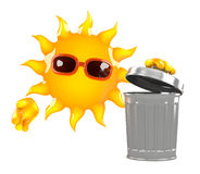 3d Sun throws out the rubbish Royalty Free Stock Photo