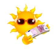 3d Sun tiene billetes de banco euro Fotos de archivo