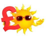 3d Sun tient un symbole monétaire de livres sterling du R-U illustration libre de droits