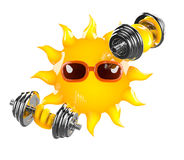 3d Sun weightlifter royalty free illustration